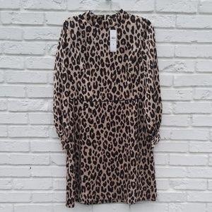 Leopard satin knee length dress